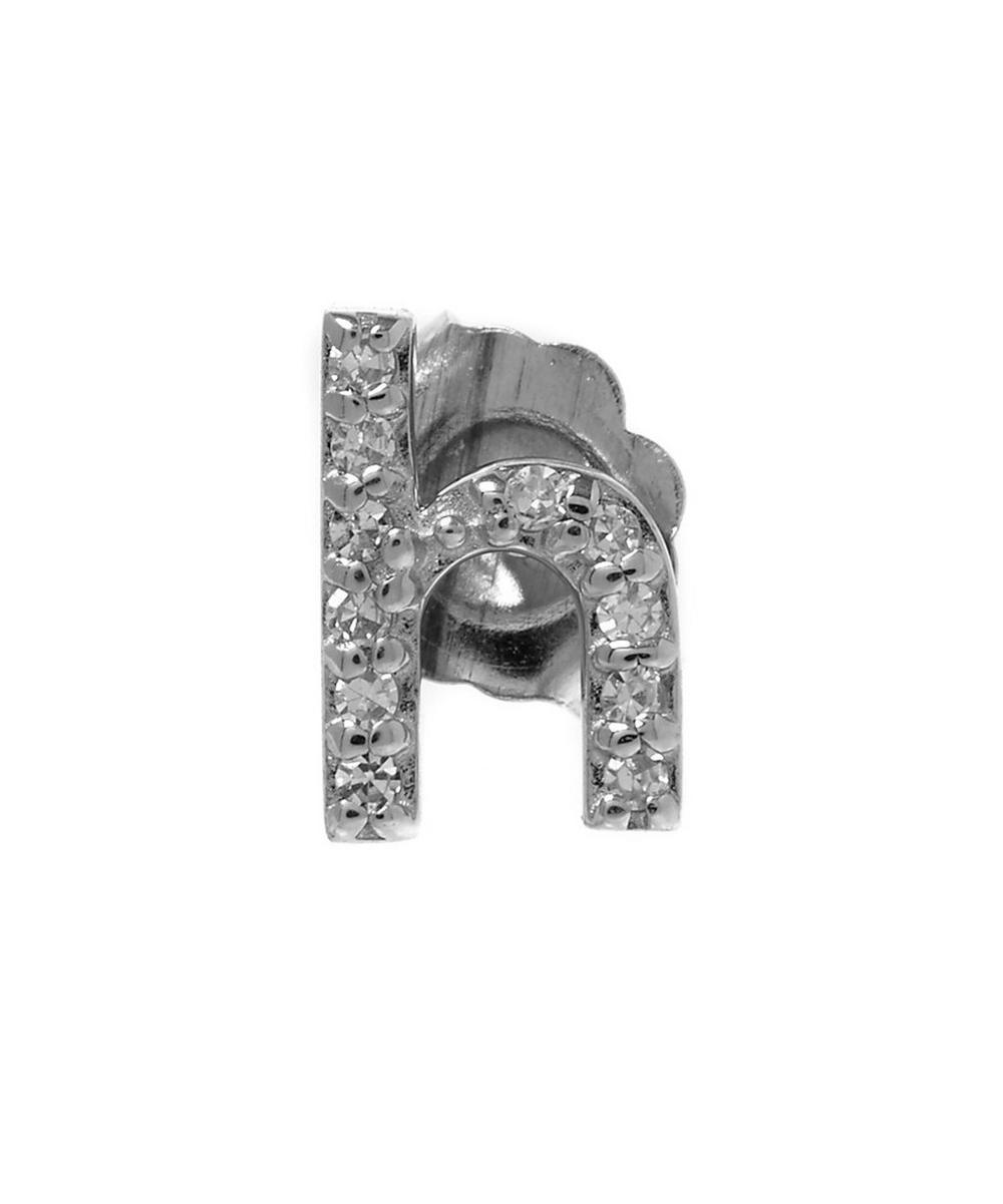 Rose Gold Diamond H Single Stud Earring