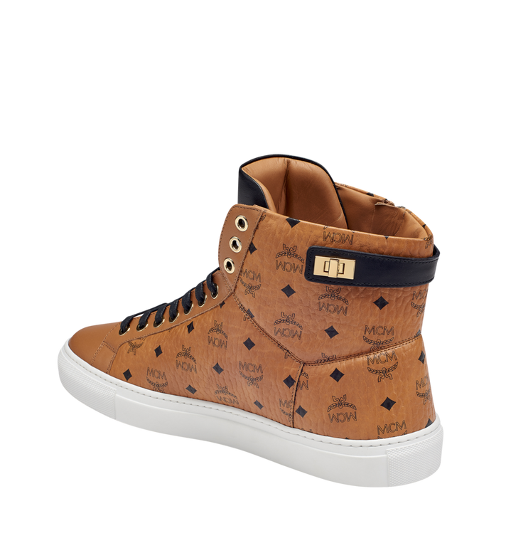 MCM Women's High Top Turnlock Sneakers in Visetos MES7AMM01CO039 AlternateView2