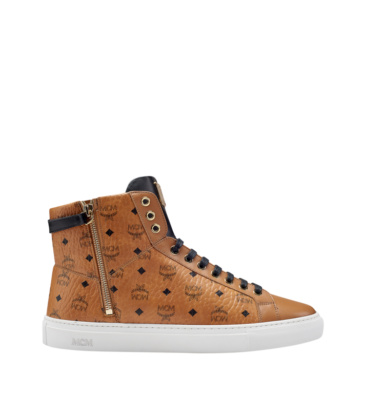 MCM Women's High Top Turnlock Sneakers in Visetos MES7AMM01CO039 AlternateView3