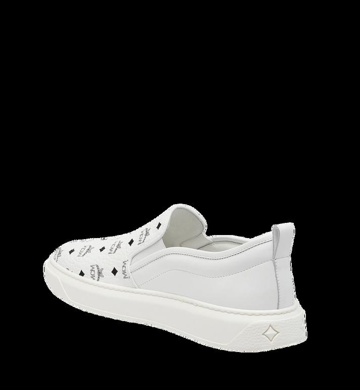 MCM Women's Slip On Diamond Sole Sneakers in Visetos MES8SMM22WT037 AlternateView2