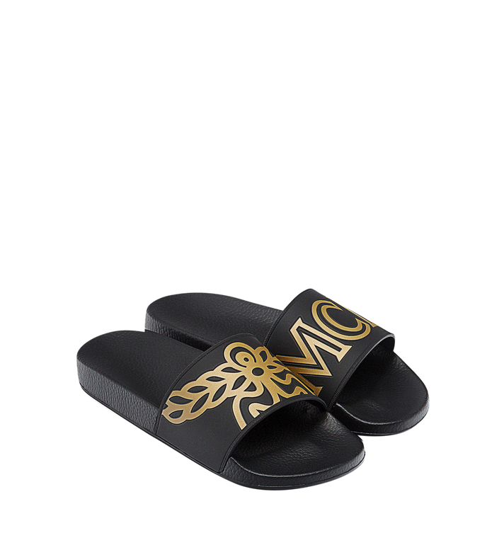 MCM Men's Rubber Slides MEX7AMM01BK041 AlternateView5