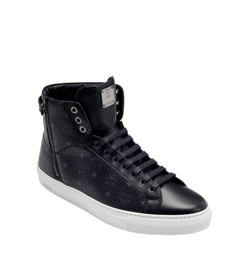MCM Men's High Top Turnlock Sneakers in Visetos MEX7AMM02BK041 AlternateView