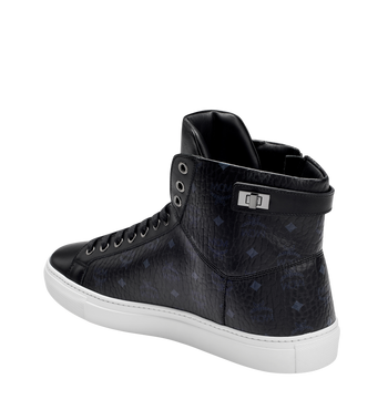 MCM Men's High Top Turnlock Sneakers in Visetos MEX7AMM02BK041 AlternateView2
