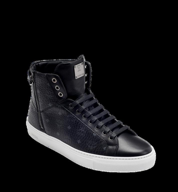 MCM Men's High Top Turnlock Sneakers in Visetos MEX7AMM02BK043 AlternateView