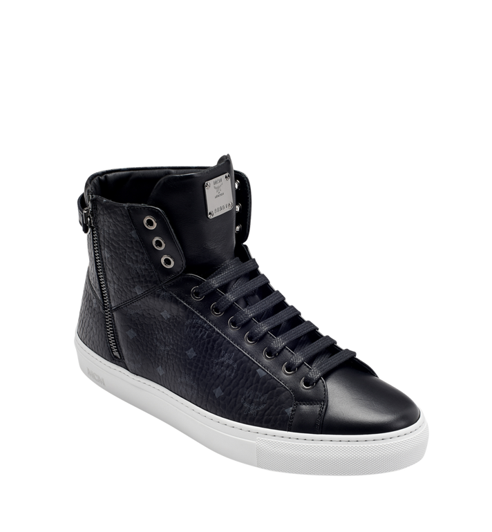 MCM Men's High Top Turnlock Sneakers in Visetos MEX7AMM02BK044 AlternateView