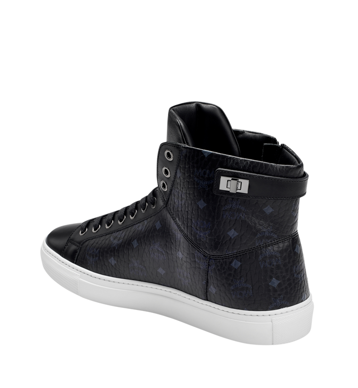 MCM Men's High Top Turnlock Sneakers in Visetos MEX7AMM02BK044 AlternateView2