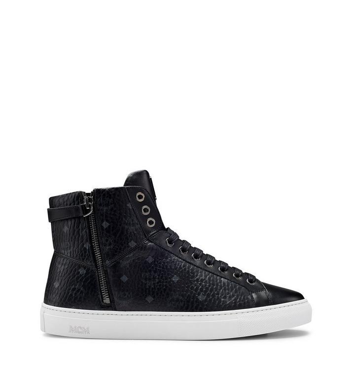 MCM Men's High Top Turnlock Sneakers in Visetos MEX7AMM02BK046 AlternateView3