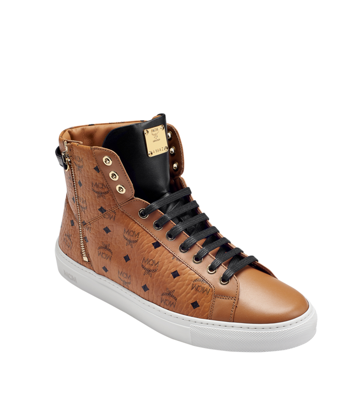 MCM Men's High Top Turnlock Sneakers in Visetos MEX7AMM02CO042 AlternateView