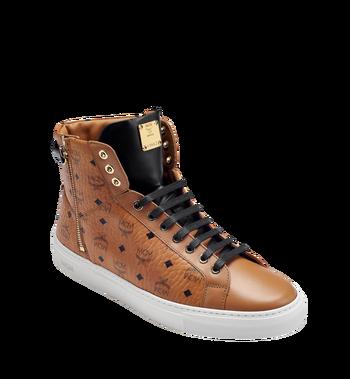 MCM Men's High Top Turnlock Sneakers in Visetos MEX7AMM02CO043 AlternateView