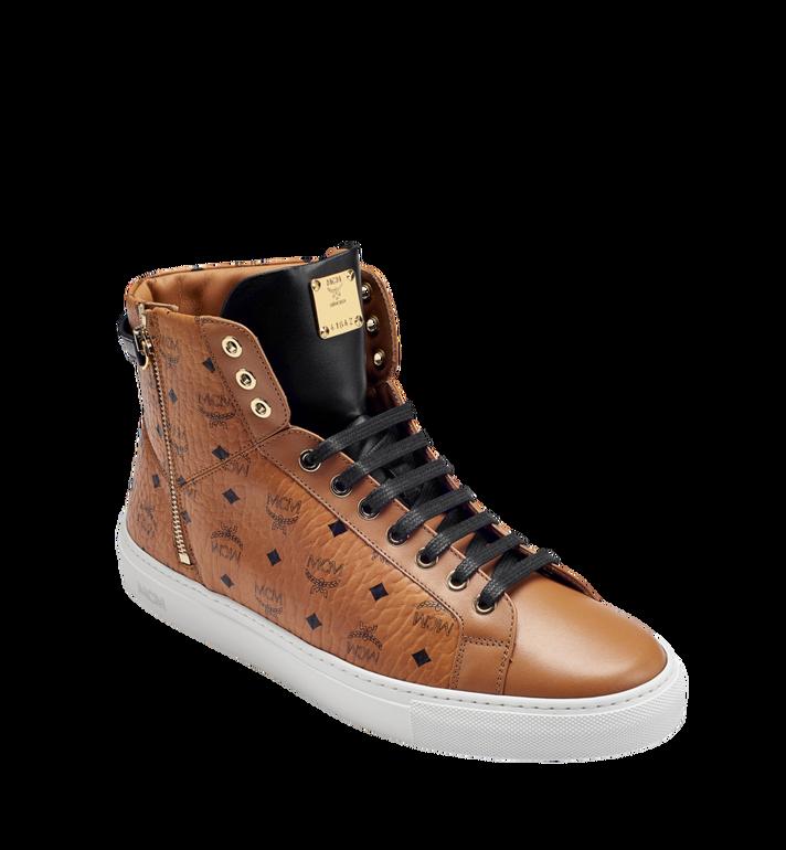 MCM Men's High Top Turnlock Sneakers in Visetos MEX7AMM02CO046 AlternateView