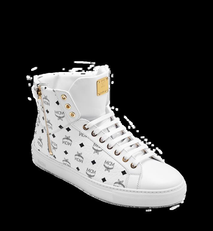 MCM Men's High Top Turnlock Sneakers in Visetos MEX7AMM02WT041 AlternateView