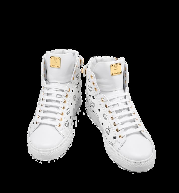 MCM Men's High Top Turnlock Sneakers in Visetos MEX7AMM02WT041 AlternateView5