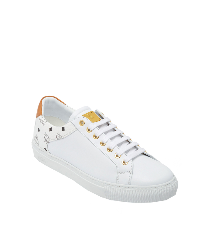 MCM Men's Low Top Classic Sneakers in Leather MEX7S2I03WT042 AlternateView