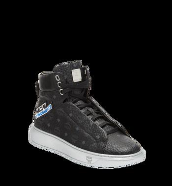 MCM Men's High Top Victory Patch Sneakers in Visetos MEX8SMM30BK041 AlternateView