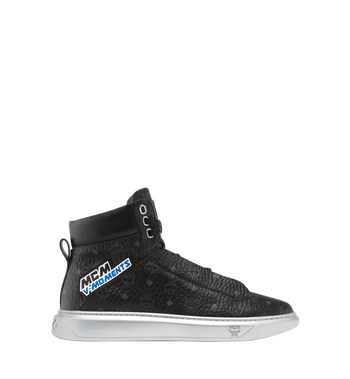 MCM Men's High Top Victory Patch Sneakers in Visetos MEX8SMM30BK041 AlternateView2