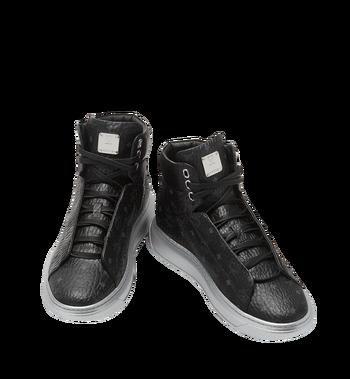 MCM Men's High Top Victory Patch Sneakers in Visetos MEX8SMM30BK041 AlternateView4