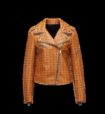 MCM Damen-Bikerjacke aus Leder mit Visetos-Aufdruck MFJ8SMM63CO00M AlternateView