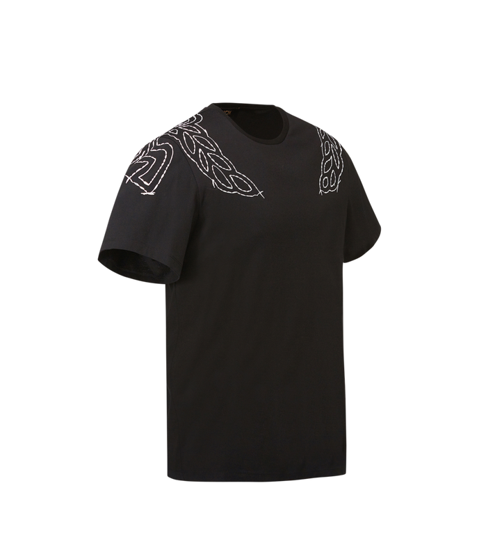 MCM Damen T-Shirt mit Lorbeer-Stickerei MFT8SMM22BK00S AlternateView2