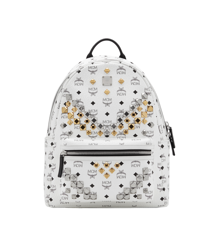 MCM Stark M Studs Backpack In Visetos MMK6SVE18WT001 AlternateView