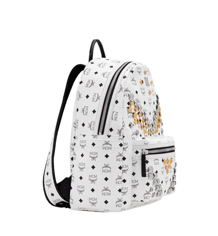 MCM Stark M Studs Backpack In Visetos MMK6SVE18WT001 AlternateView2