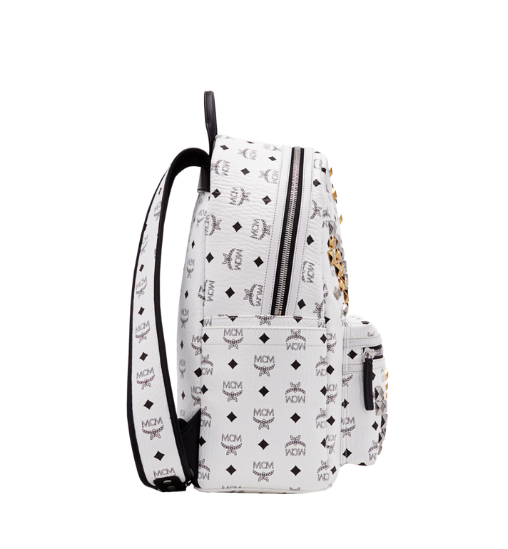 MCM Stark M Studs Backpack In Visetos MMK6SVE18WT001 AlternateView3