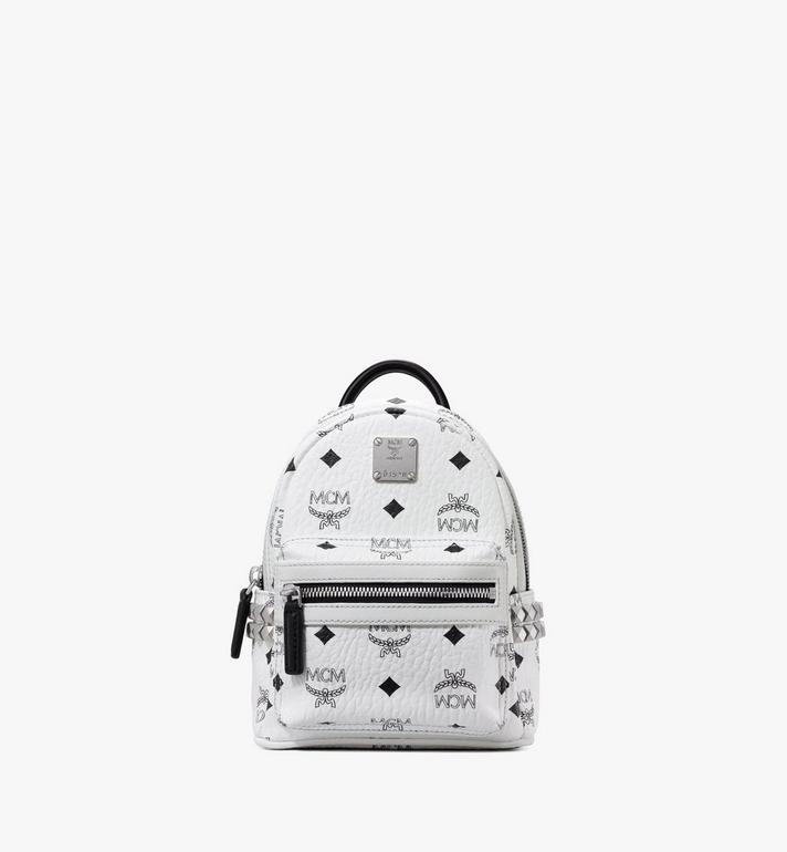 MCM Stark Side Studs Bebe Boo Backpack in Visetos MMK6SVE92WT001 AlternateView1