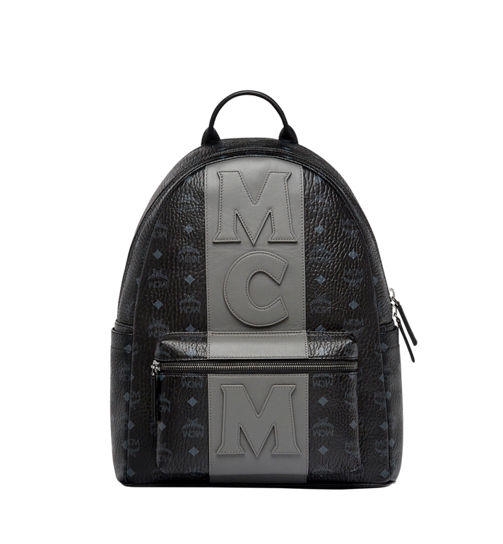 MCM Stark Logo Stripe Backpack in Visetos MMK7AVE27BK001 AlternateView1