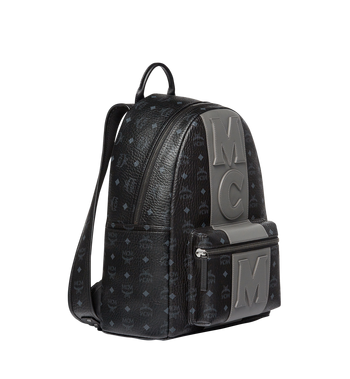 MCM Stark Logo Stripe Backpack in Visetos MMK7AVE27BK001 AlternateView2