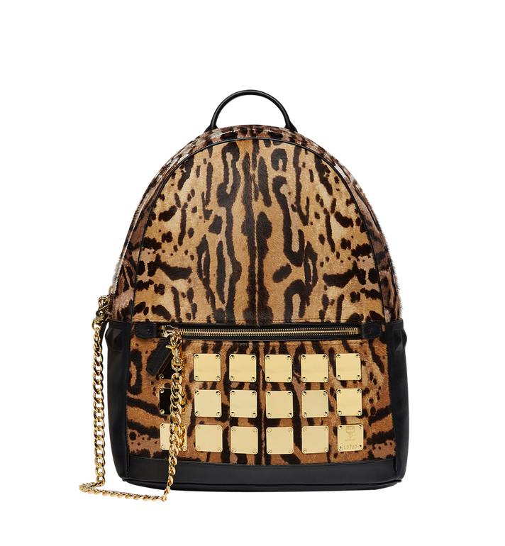 MCM Stark Logo Plate Backpack in Leopard Haircalf MMK8AVE01CO001 AlternateView