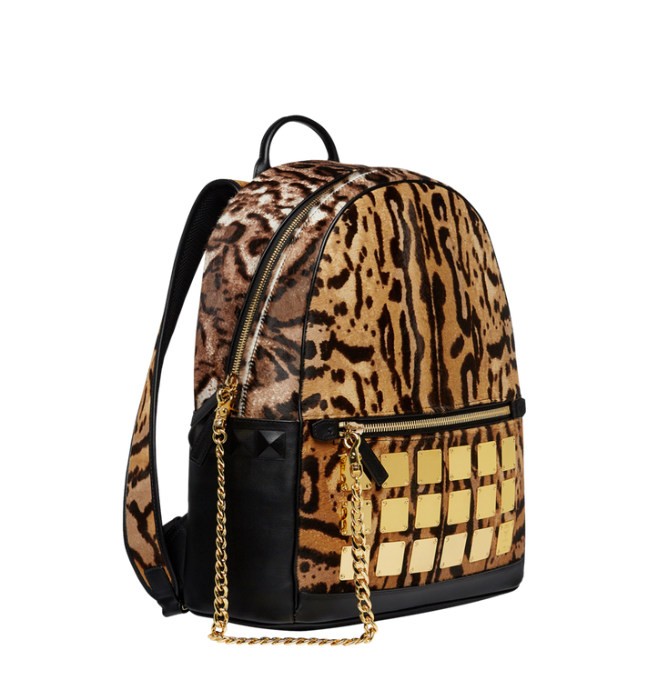 MCM Stark Logo Plate Backpack in Leopard Haircalf MMK8AVE01CO001 AlternateView2