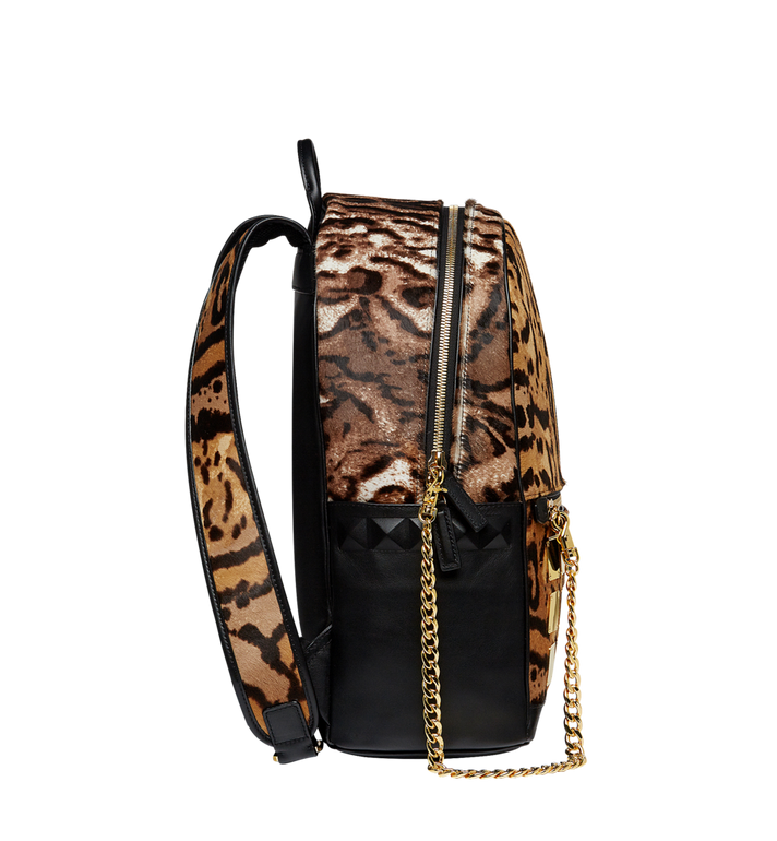 MCM Stark Logo Plate Backpack in Leopard Haircalf MMK8AVE01CO001 AlternateView3