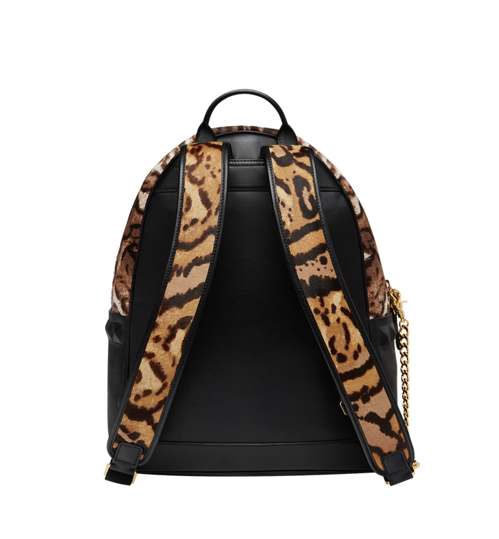 MCM Stark Logo Plate Backpack in Leopard Haircalf MMK8AVE01CO001 AlternateView4
