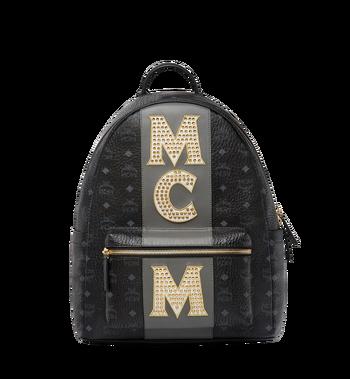 MCM Stark Logo Stripe Backpack in Visetos MMK8SVE82BK001 AlternateView
