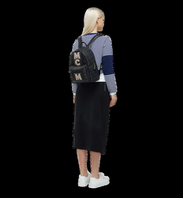 MCM Stark Logo Stripe Backpack in Visetos MMK8SVE94BK001 AlternateView6