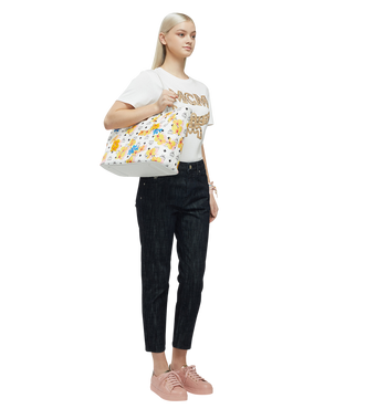 MCM Essential Top Zip Shopper in Floral Print Visetos MWP8SSE83WT001 AlternateView6