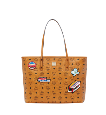 MCM Victory Patch Top Zip Shopper in Visetos MWP8SVI69CO001 AlternateView