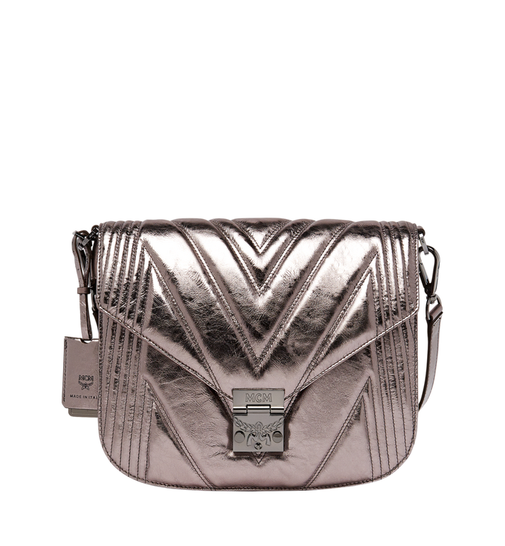 MCM Patricia Shoulder Bag in Quilted Metallic Leather MWS8APA70SB001 AlternateView
