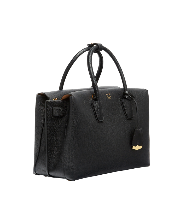 MCM Milla Tote in Grained Leather MWT6AMA04BK001 AlternateView2