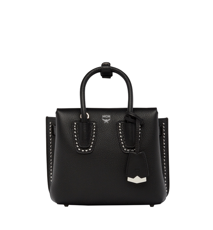 MCM Milla Studded Outline Tote in Grained Leather MWT7AMA59BK001 AlternateView