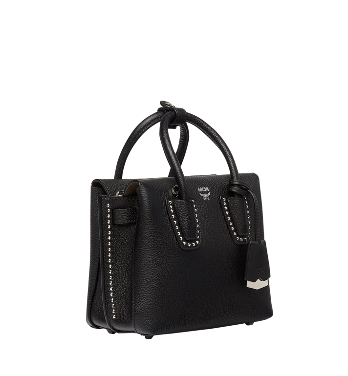 MCM Milla Studded Outline Tote in Grained Leather MWT7AMA59BK001 AlternateView2