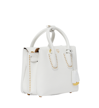 MCM Milla Studded Outline Tote in Grained Leather MWT8SMA59WT001 AlternateView2