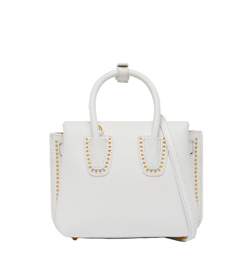 MCM Milla Studded Outline Tote in Grained Leather MWT8SMA59WT001 AlternateView4