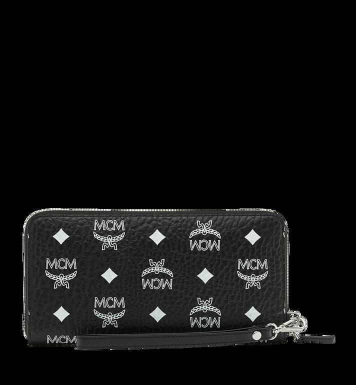 MCM Reissverschlussbrieftasche mit Handgelenksband und Visetos-Logo in Weiss MXL9SWA06BV001 AlternateView3
