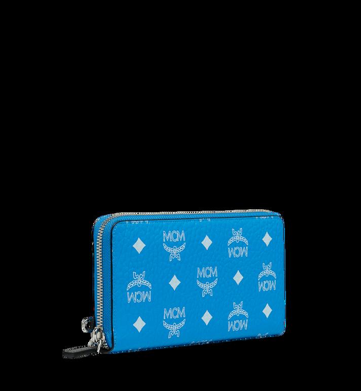 MCM Portefeuille zippé à dragonne en Visetos à logo blanc MXL9SWA06HI001 AlternateView2