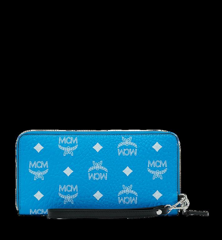 MCM Reissverschlussbrieftasche mit Handgelenksband und Visetos-Logo in Weiss MXL9SWA06HI001 AlternateView3