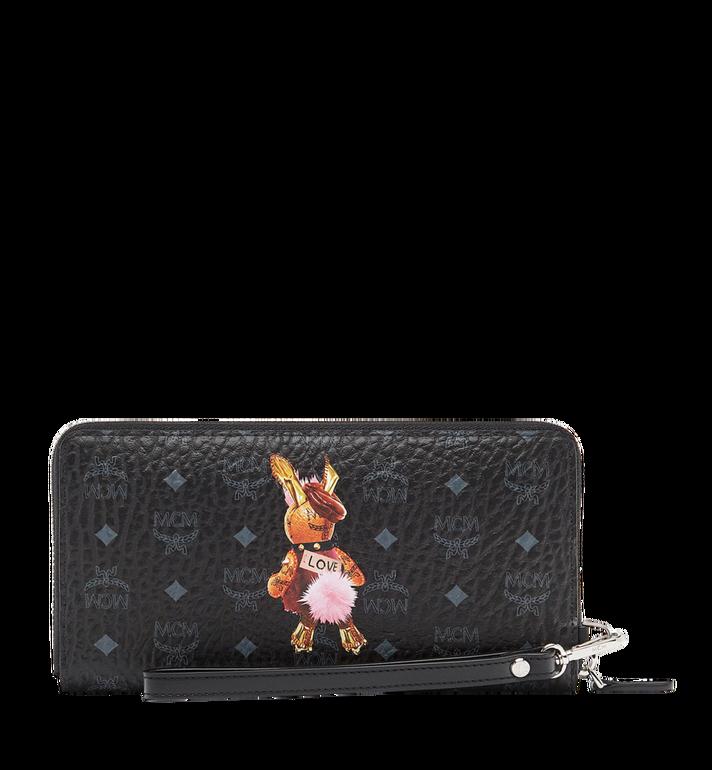 MCM Rabbit Zip Around Wristlet Wallet in Visetos MYL7AXL32BK001 AlternateView3