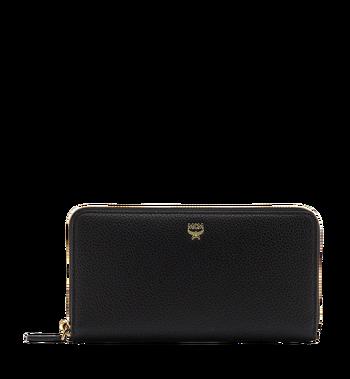 MCM Milla Brieftasche mit Rundum-Reißverschluss aus gemasertem Leder MYL8SMA04BK001 AlternateView