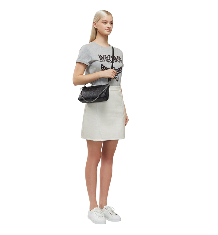 MCM Millie Top Zip Shoulder Bag in Visetos MYZ7SME03BK001 AlternateView6