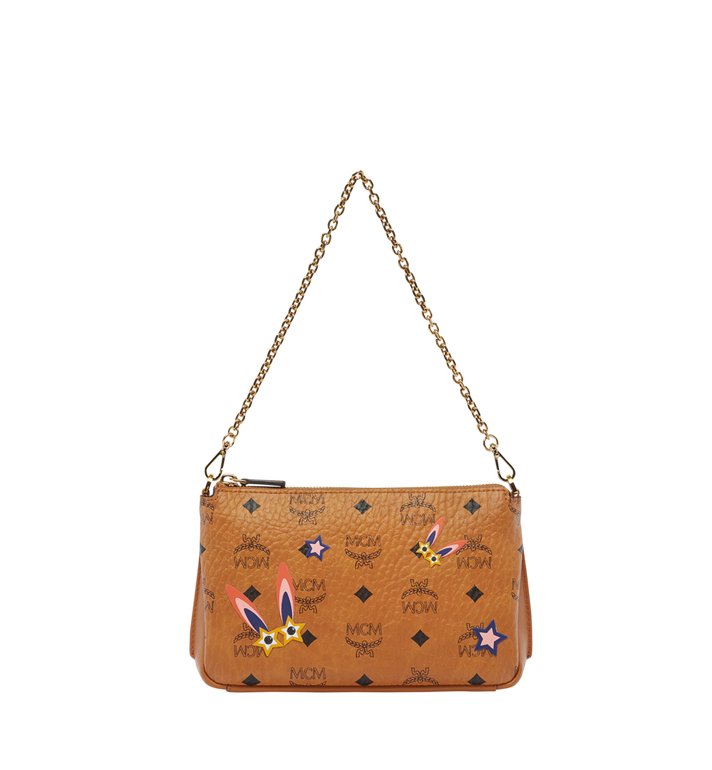 MCM Star Eyed Bunny Top Zip Shoulder Bag in Visetos MYZ8SME70CO001 AlternateView