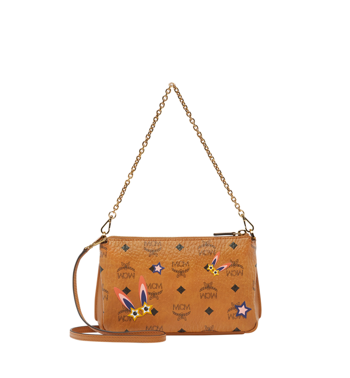 MCM Star Eyed Bunny Top Zip Shoulder Bag in Visetos MYZ8SME70CO001 AlternateView4